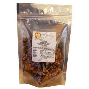 Photo of a bag of apple bark snacks.
