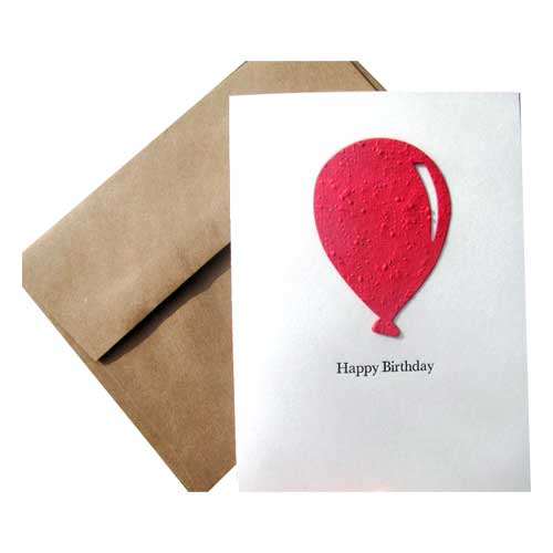 Red Balloon Birthday Card reads: Happy birthday
